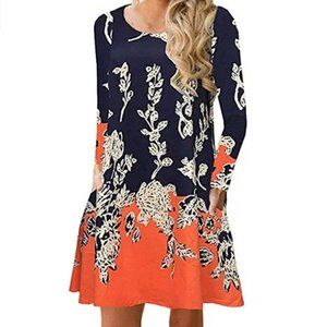 NWT Womans Floral Casual Loose Swing Dress